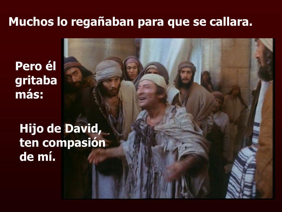 Muchos lo regañaban para que se callara. Pero él gritaba más: Hijo de David, ten compasión de mí.