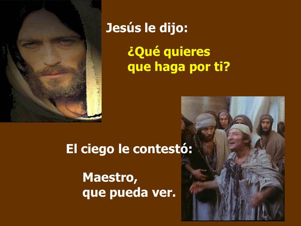 Jesús le dijo: ¿Qué quieres que haga por ti? Maestro, que pueda ver. El ciego le contestó: