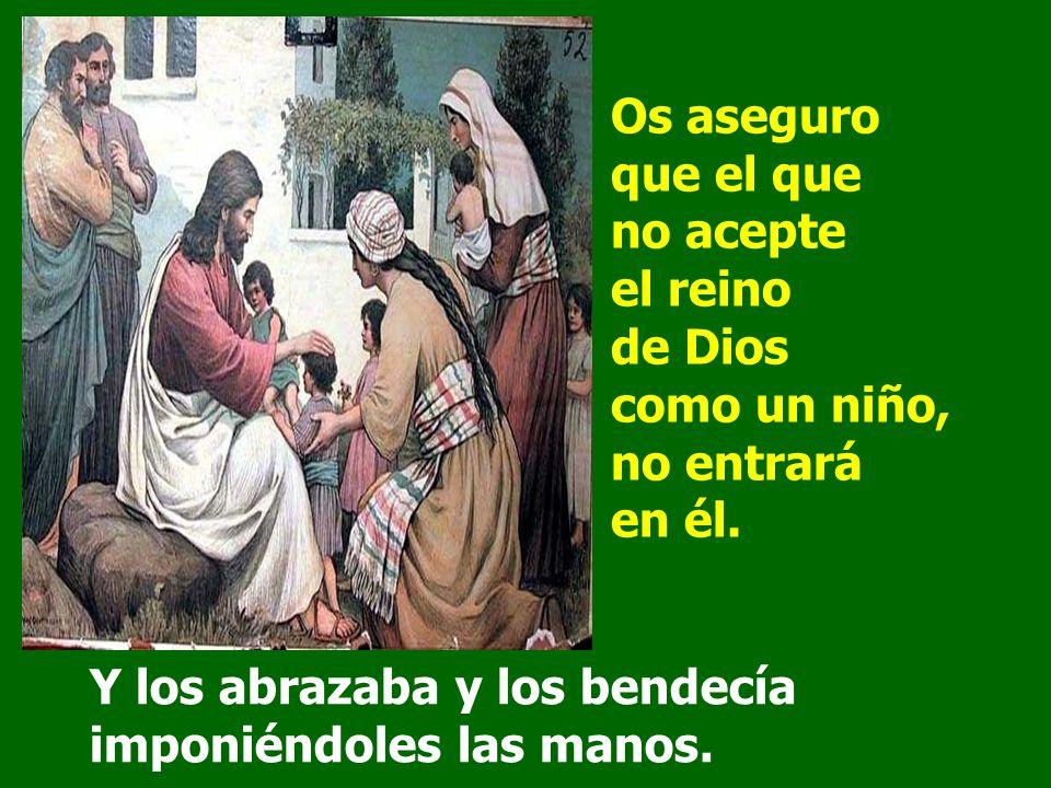 Le acercaban niños para que los tocara, pero los discípulos les regañaban. Al verlo, Jesús se enfadó y les dijo: Dejad que los niños se acerquen a mí: