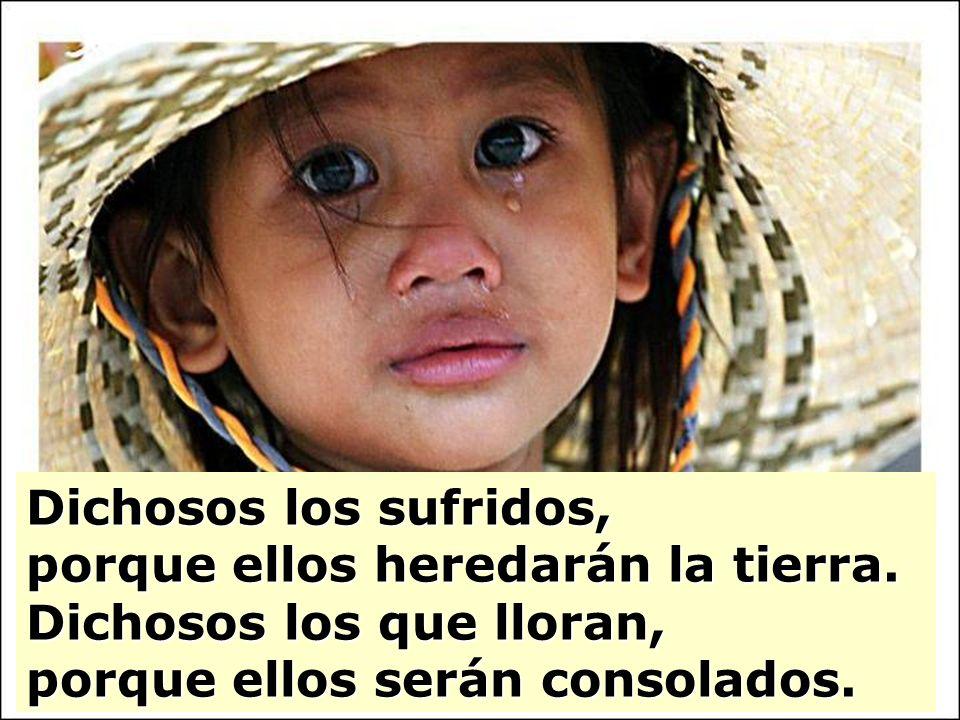 Dichosos los sufridos, porque ellos heredarán la tierra. Dichosos los que lloran, porque ellos serán consolados.