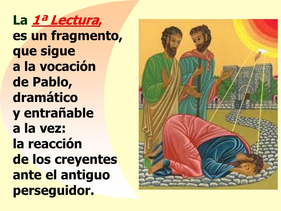 La 1ª Lectura, es un fragmento, que sigue a la vocación de Pablo, dramático y entrañable a la vez: la reacción de los creyentes ante el antiguo perseguidor.