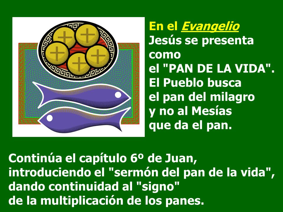 Continúa el capítulo 6º de Juan, introduciendo el sermón del pan de la vida , dando continuidad al signo de la multiplicación de los panes.