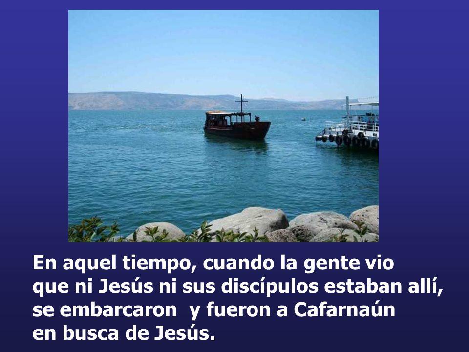 . En aquel tiempo, cuando la gente vio que ni Jesús ni sus discípulos estaban allí, se embarcaron y fueron a Cafarnaún en busca de Jesús.