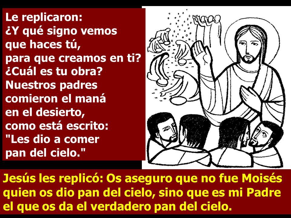 Jesús les replicó: Os aseguro que no fue Moisés quien os dio pan del cielo, sino que es mi Padre el que os da el verdadero pan del cielo.