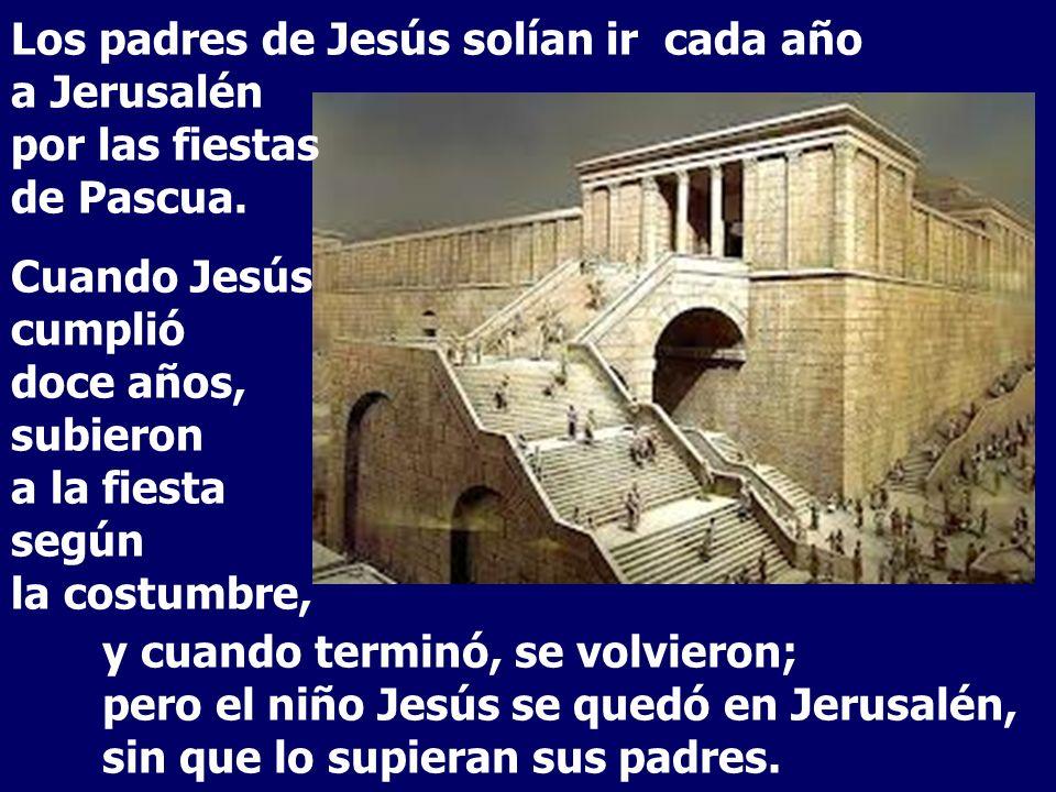 y cuando terminó, se volvieron; pero el niño Jesús se quedó en Jerusalén, sin que lo supieran sus padres.