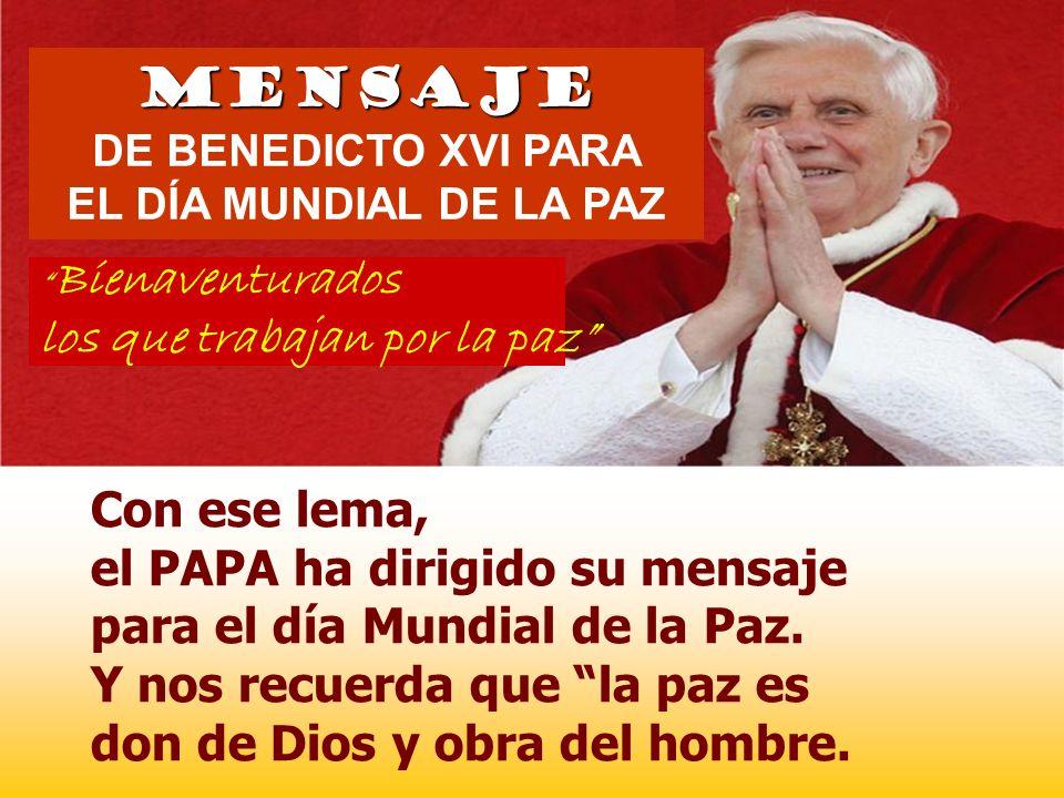 PAZ con Dios. PAZ interior consigo mismo PAZ exterior con el prójimo PAZ con toda la creación + Hoy también es el Día Mundial de la Paz MISIÓN CRISTIA