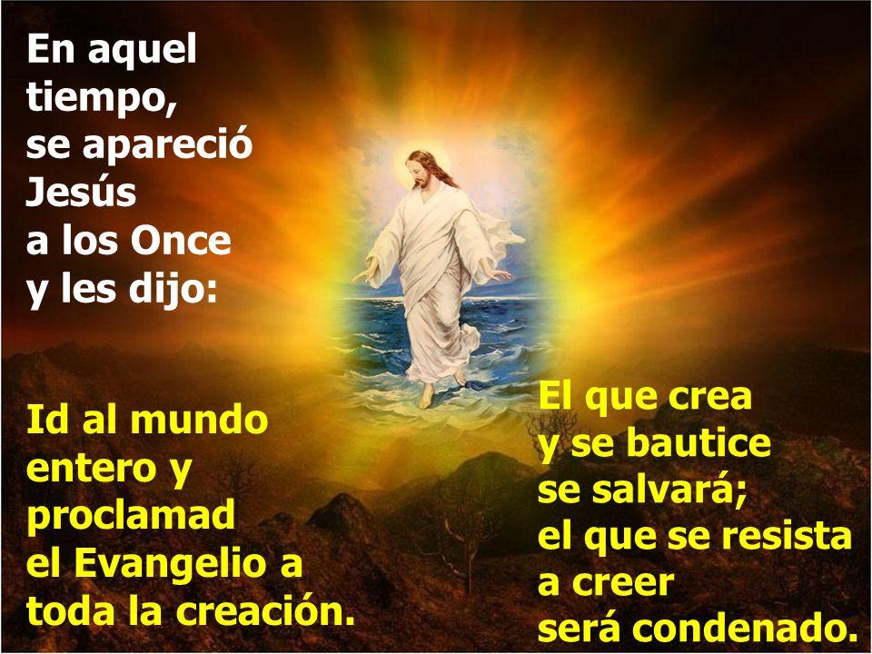En aquel tiempo, se apareció Jesús a los Once y les dijo: Id al mundo entero y proclamad el Evangelio a toda la creación.