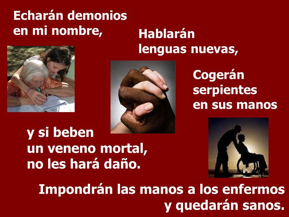 Echarán demonios en mi nombre, Hablarán lenguas nuevas, Cogerán serpientes en sus manos y si beben un veneno mortal, no les hará daño.
