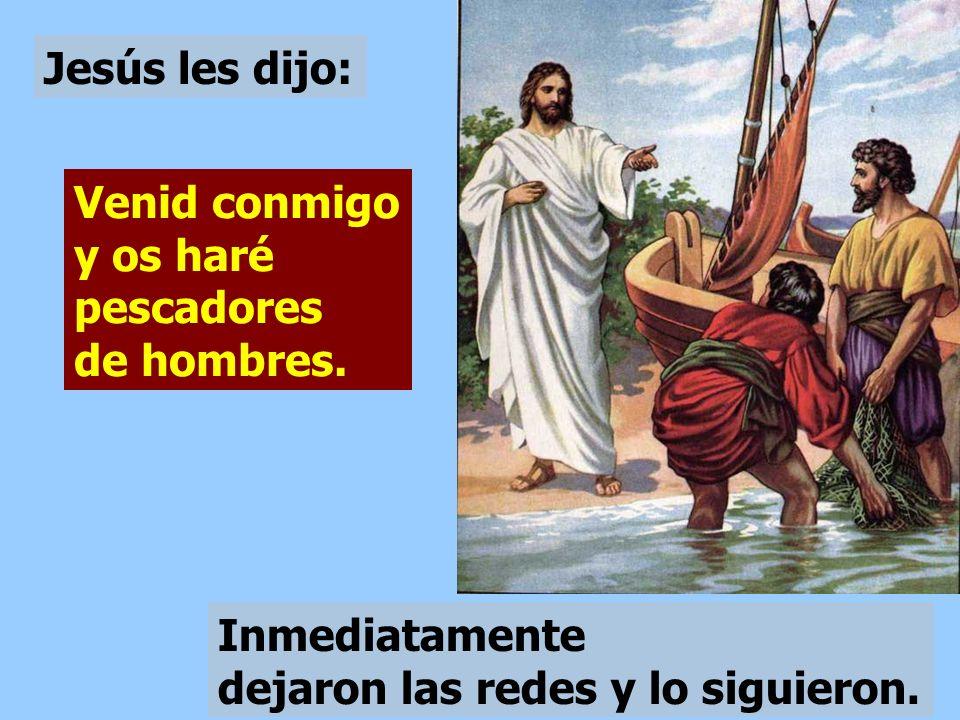 Pasando Jesús junto al lago de Galilea, vio a Simón y a su hermano Andrés, que eran pescadores y estaban echando el copo en el lago.