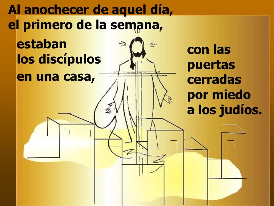 los Apóstoles reunidos reciben el Espíritu y son enviados. En el Evangelio,