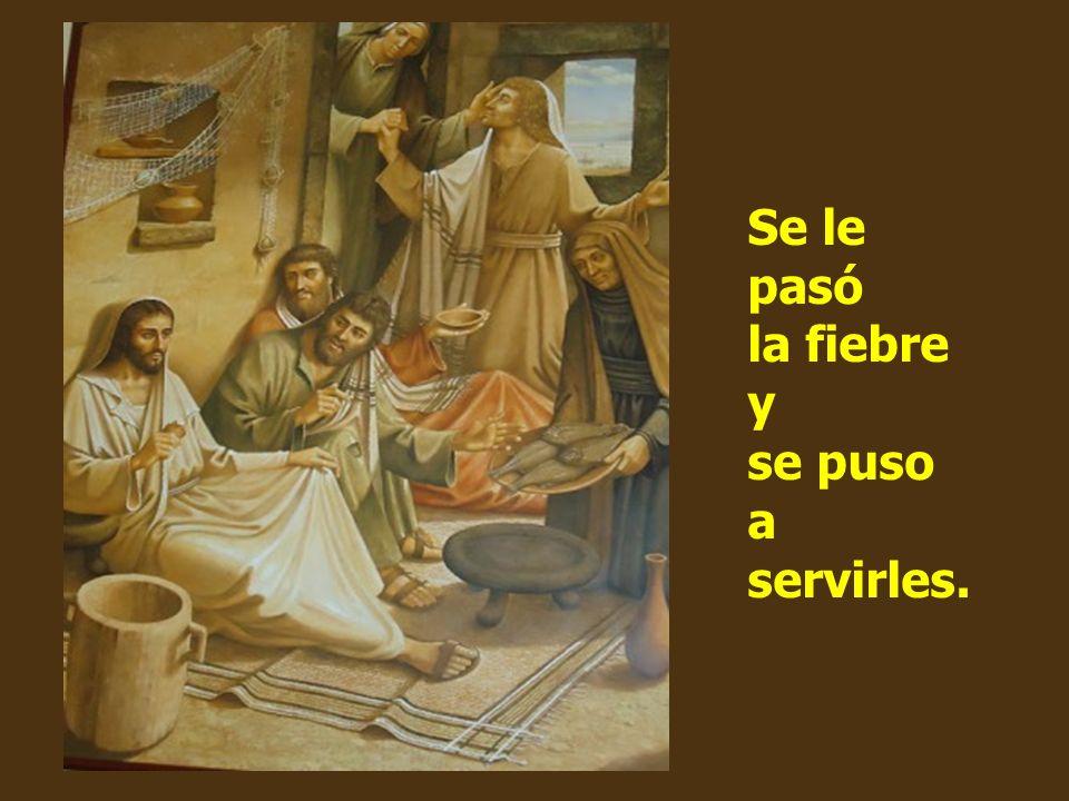 La suegra de Simón estaba en cama con fiebre, y se lo dijeron. Jesús se acercó, la cogió de la mano y la levantó.