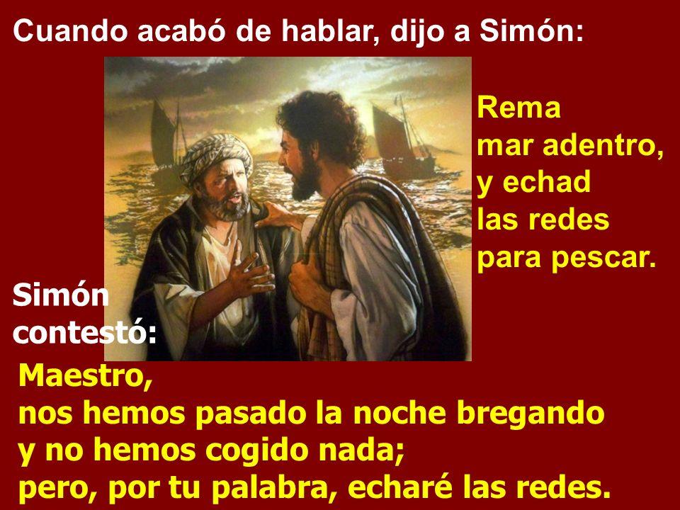 Subió a una de las barcas, la de Simón, y le pidió que la apartara un poco de tierra. Desde la barca, sentado, enseñaba a la gente.