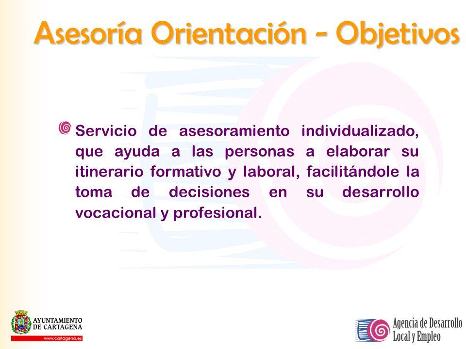 Asesoría Orientación - Objetivos Servicio de asesoramiento individualizado, que ayuda a las personas a elaborar su itinerario formativo y laboral, fac