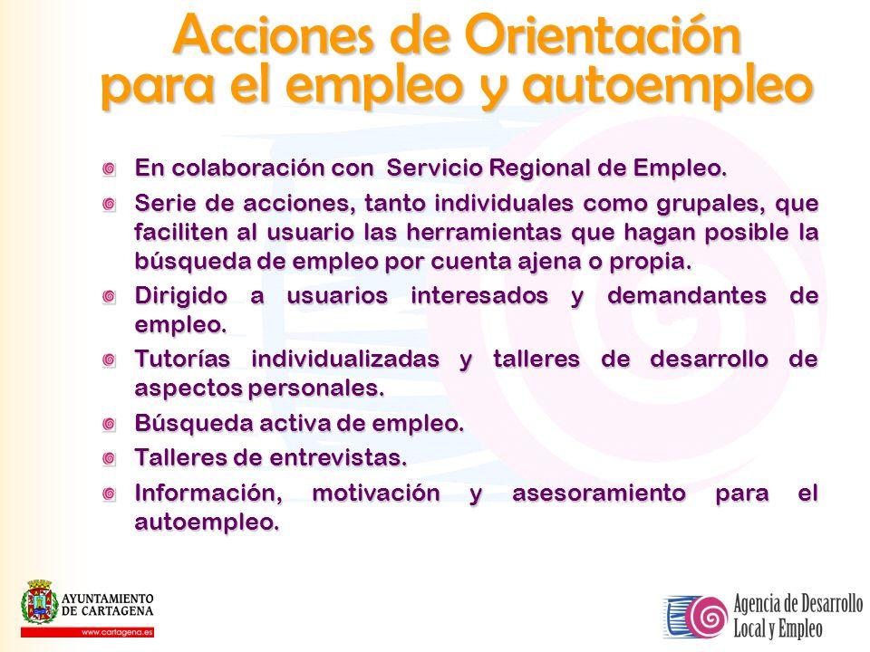 Acciones de Orientación para el empleo y autoempleo En colaboración con Servicio Regional de Empleo. Serie de acciones, tanto individuales como grupal