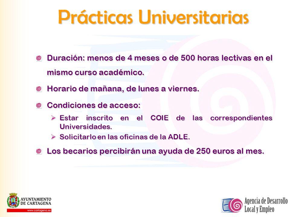 Prácticas Universitarias Duración: menos de 4 meses o de 500 horas lectivas en el mismo curso académico. Horario de mañana, de lunes a viernes. Condic