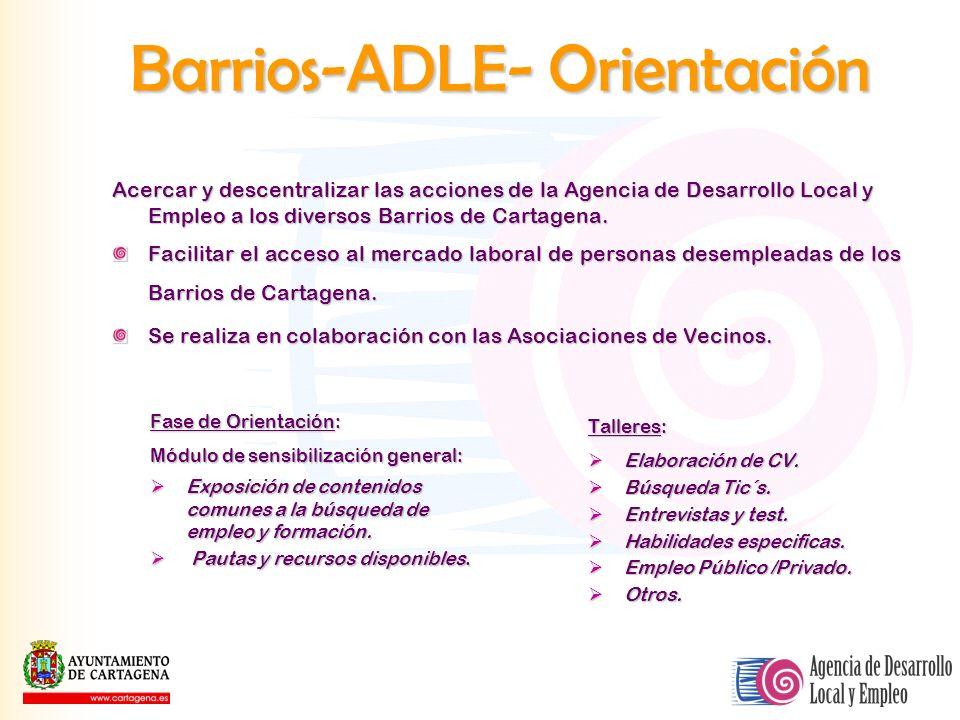 Barrios-ADLE- Orientación Acercar y descentralizar las acciones de la Agencia de Desarrollo Local y Empleo a los diversos Barrios de Cartagena. Facili