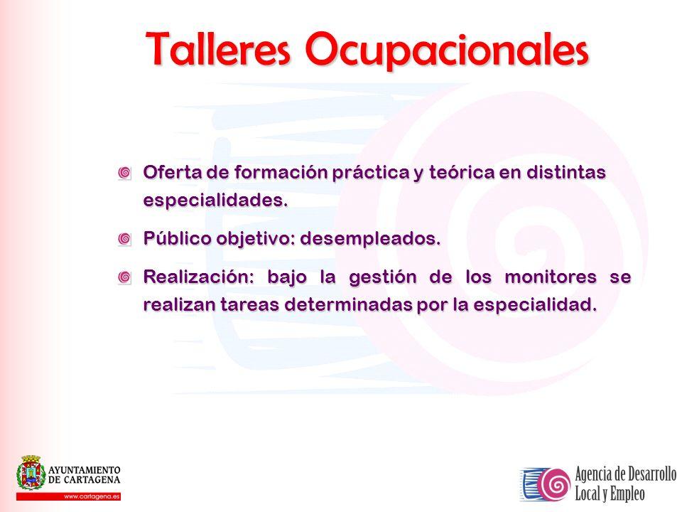 Talleres Ocupacionales Oferta de formación práctica y teórica en distintas especialidades. Público objetivo: desempleados. Realización: bajo la gestió