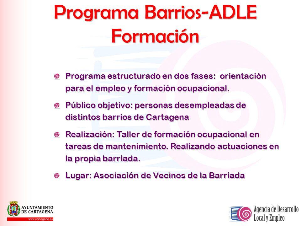 Programa Barrios-ADLE Formación Programa estructurado en dos fases: orientación para el empleo y formación ocupacional. Público objetivo: personas des