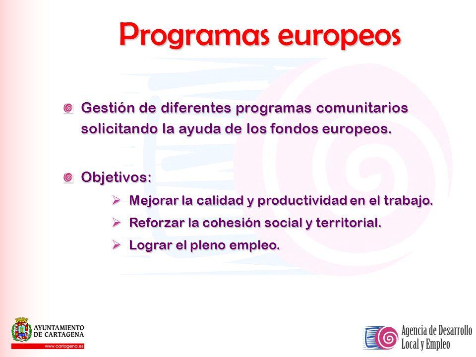 Programas europeos Gestión de diferentes programas comunitarios solicitando la ayuda de los fondos europeos. Objetivos: Mejorar la calidad y productiv