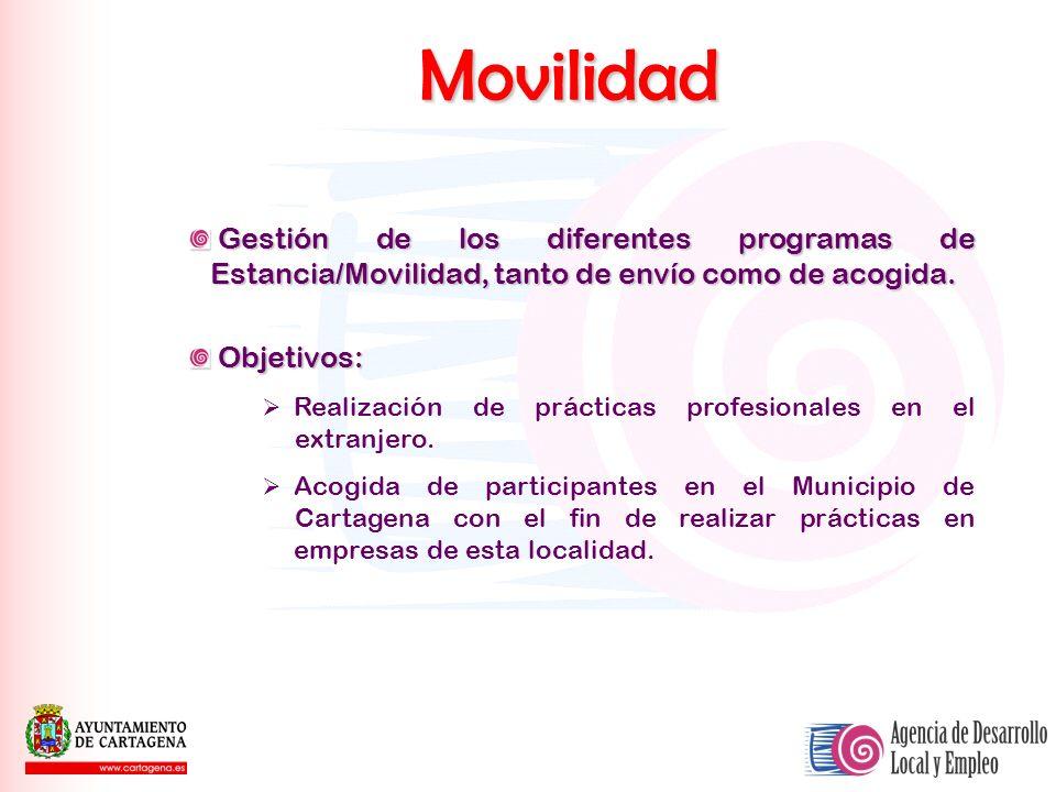 Movilidad Gestión de los diferentes programas de Estancia/Movilidad, tanto de envío como de acogida. Gestión de los diferentes programas de Estancia/M
