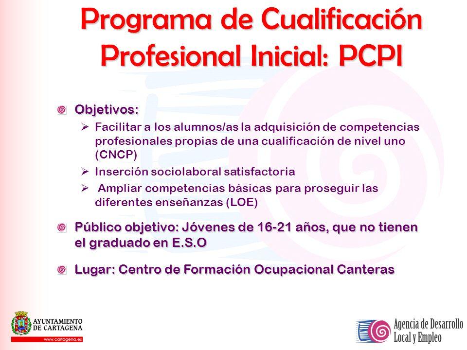 Programa de Cualificación Profesional Inicial: PCPI Objetivos: Facilitar a los alumnos/as la adquisición de competencias profesionales propias de una