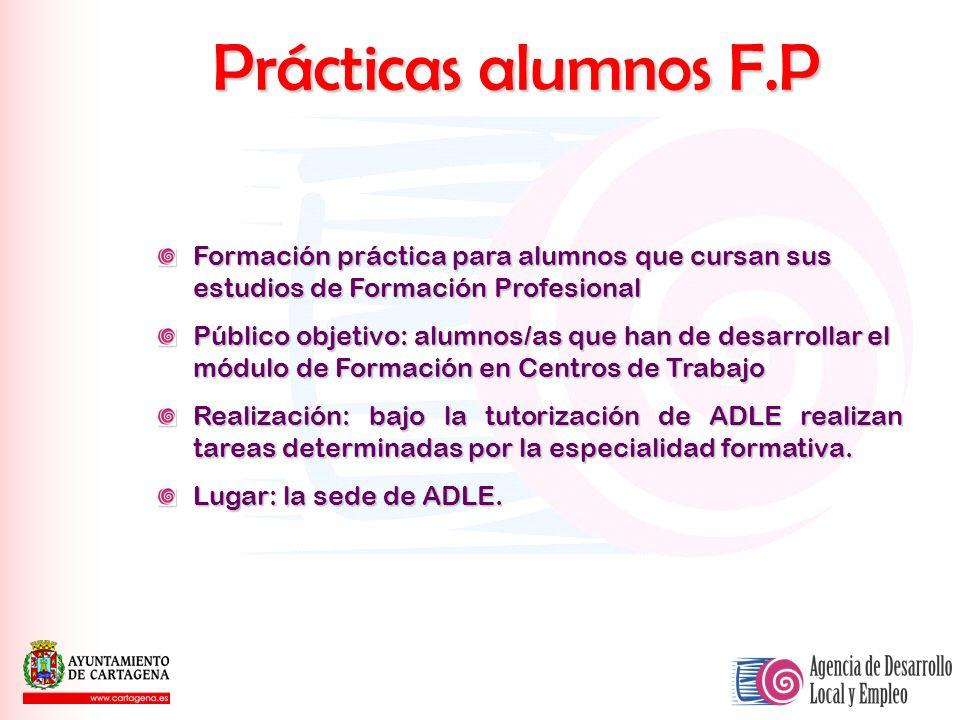Prácticas alumnos F.P Formación práctica para alumnos que cursan sus estudios de Formación Profesional Público objetivo: alumnos/as que han de desarro
