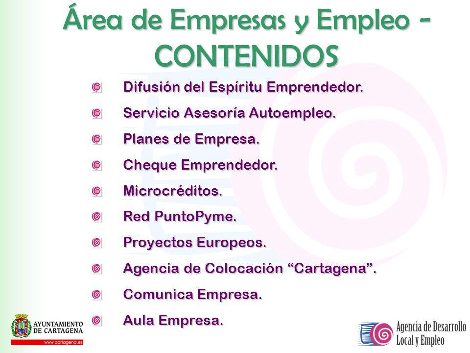 Área de Empresas y Empleo - CONTENIDOS Difusión del Espíritu Emprendedor. Servicio Asesoría Autoempleo. Planes de Empresa. Cheque Emprendedor. Microcr