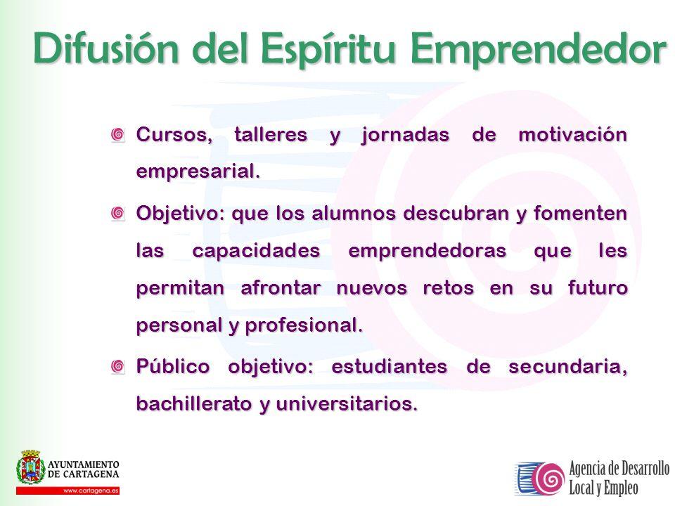 Difusión del Espíritu Emprendedor Cursos, talleres y jornadas de motivación empresarial. Objetivo: que los alumnos descubran y fomenten las capacidade