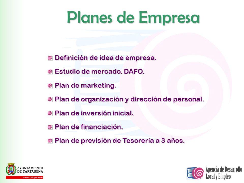 Definición de idea de empresa. Estudio de mercado. DAFO. Plan de marketing. Plan de organización y dirección de personal. Plan de inversión inicial. P