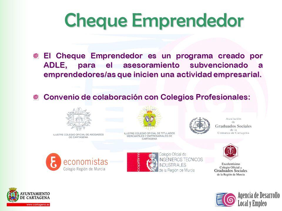 El Cheque Emprendedor es un programa creado por ADLE, para el asesoramiento subvencionado a emprendedores/as que inicien una actividad empresarial. Co