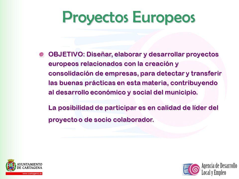 OBJETIVO: Diseñar, elaborar y desarrollar proyectos europeos relacionados con la creación y consolidación de empresas, para detectar y transferir las