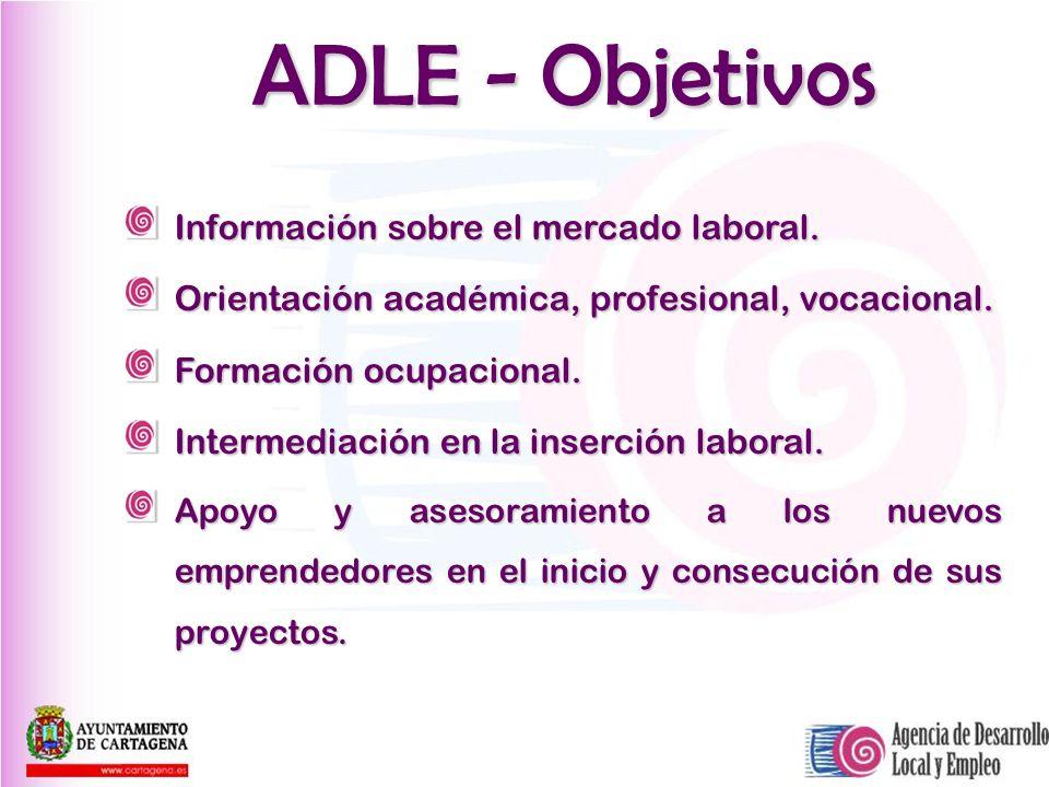 ADLE - Objetivos Información sobre el mercado laboral. Orientación académica, profesional, vocacional. Formación ocupacional. Intermediación en la ins