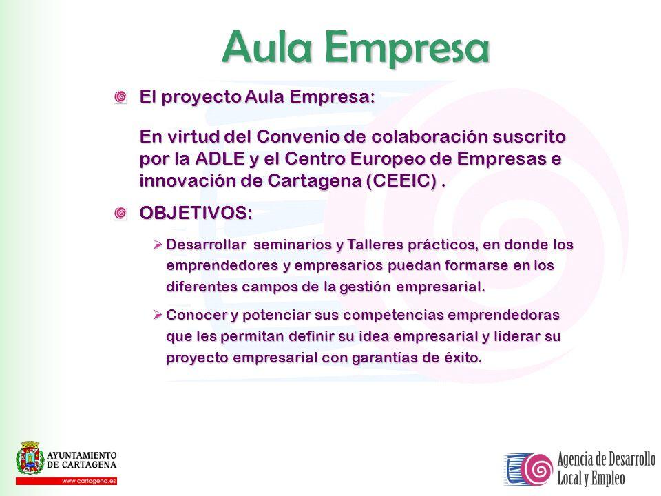 El proyecto Aula Empresa: En virtud del Convenio de colaboración suscrito por la ADLE y el Centro Europeo de Empresas e innovación de Cartagena (CEEIC
