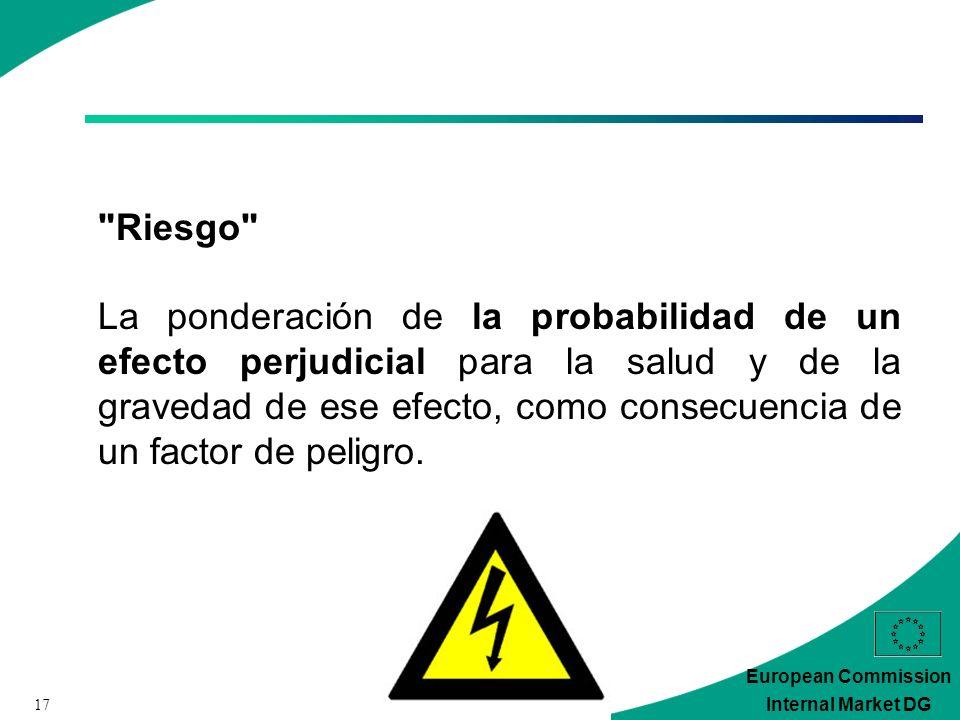 17 European Commission Internal Market DG Riesgo La ponderación de la probabilidad de un efecto perjudicial para la salud y de la gravedad de ese efecto, como consecuencia de un factor de peligro.