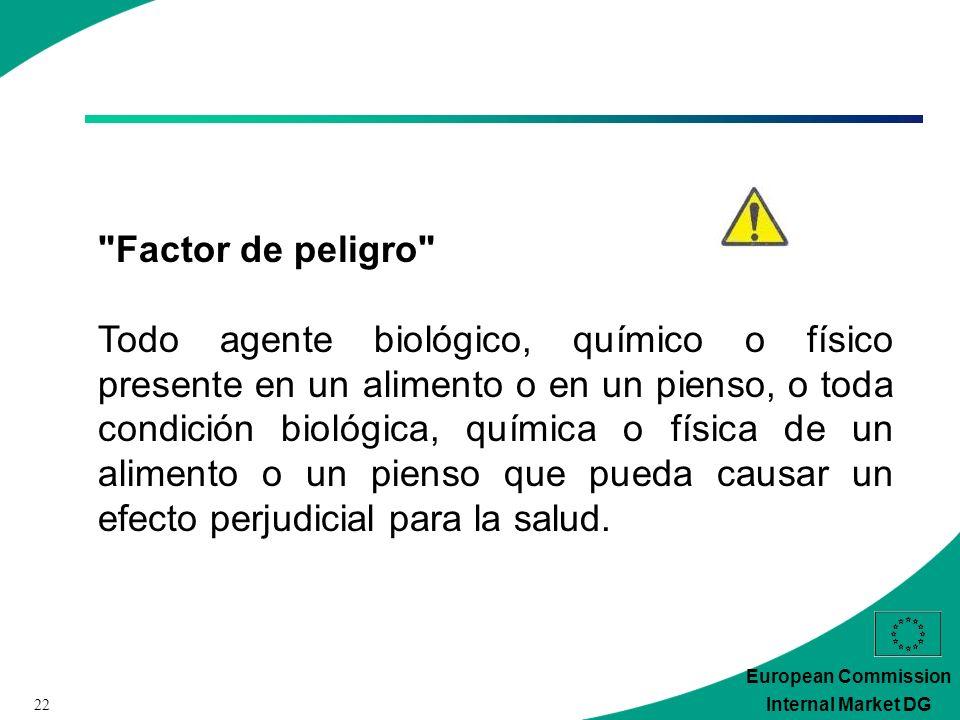 22 European Commission Internal Market DG Factor de peligro Todo agente biológico, químico o físico presente en un alimento o en un pienso, o toda condición biológica, química o física de un alimento o un pienso que pueda causar un efecto perjudicial para la salud.