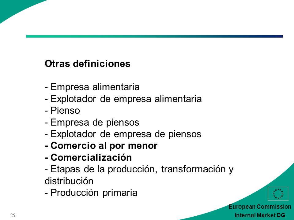 25 European Commission Internal Market DG Otras definiciones - Empresa alimentaria - Explotador de empresa alimentaria - Pienso - Empresa de piensos - Explotador de empresa de piensos - Comercio al por menor - Comercialización - Etapas de la producción, transformación y distribución - Producción primaria