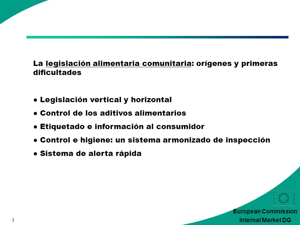 3 European Commission Internal Market DG La legislación alimentaria comunitaria: orígenes y primeras dificultades Legislación vertical y horizontal Co