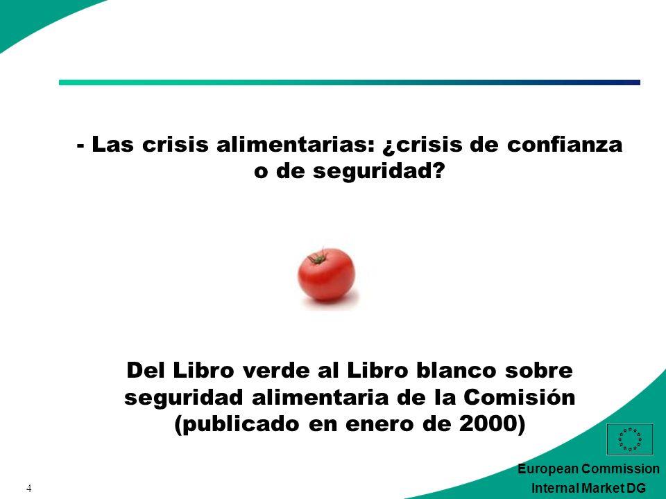 4 European Commission Internal Market DG - Las crisis alimentarias: ¿crisis de confianza o de seguridad.