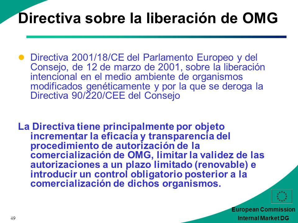 49 European Commission Internal Market DG Directiva sobre la liberación de OMG Directiva 2001/18/CE del Parlamento Europeo y del Consejo, de 12 de marzo de 2001, sobre la liberación intencional en el medio ambiente de organismos modificados genéticamente y por la que se deroga la Directiva 90/220/CEE del Consejo La Directiva tiene principalmente por objeto incrementar la eficacia y transparencia del procedimiento de autorización de la comercialización de OMG, limitar la validez de las autorizaciones a un plazo limitado (renovable) e introducir un control obligatorio posterior a la comercialización de dichos organismos.
