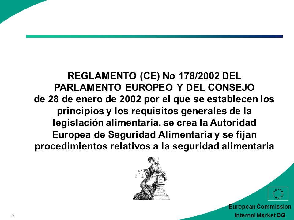5 European Commission Internal Market DG REGLAMENTO (CE) No 178/2002 DEL PARLAMENTO EUROPEO Y DEL CONSEJO de 28 de enero de 2002 por el que se establecen los principios y los requisitos generales de la legislación alimentaria, se crea la Autoridad Europea de Seguridad Alimentaria y se fijan procedimientos relativos a la seguridad alimentaria
