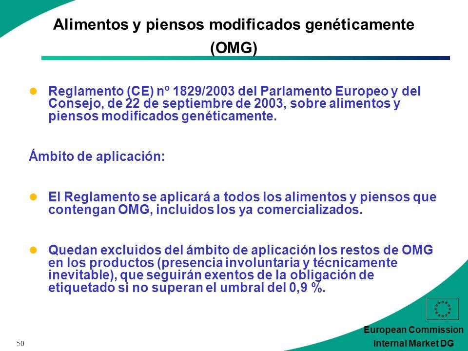 50 European Commission Internal Market DG Alimentos y piensos modificados genéticamente (OMG) Reglamento (CE) nº 1829/2003 del Parlamento Europeo y del Consejo, de 22 de septiembre de 2003, sobre alimentos y piensos modificados genéticamente.