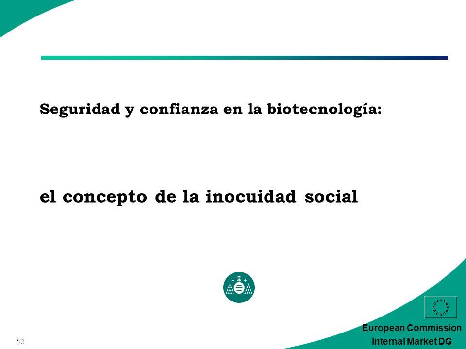 52 European Commission Internal Market DG Seguridad y confianza en la biotecnología: el concepto de la inocuidad social