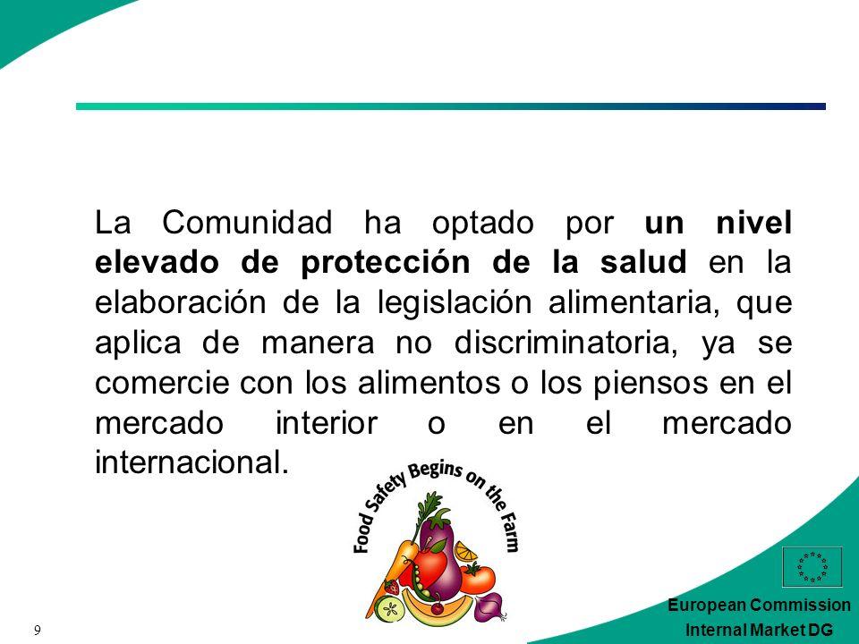 9 European Commission Internal Market DG La Comunidad ha optado por un nivel elevado de protección de la salud en la elaboración de la legislación alimentaria, que aplica de manera no discriminatoria, ya se comercie con los alimentos o los piensos en el mercado interior o en el mercado internacional.