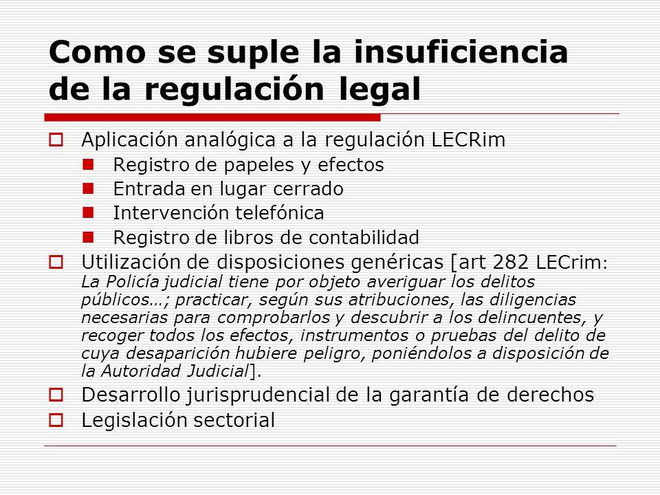 Como se suple la insuficiencia de la regulación legal Aplicación analógica a la regulación LECRim Registro de papeles y efectos Entrada en lugar cerra