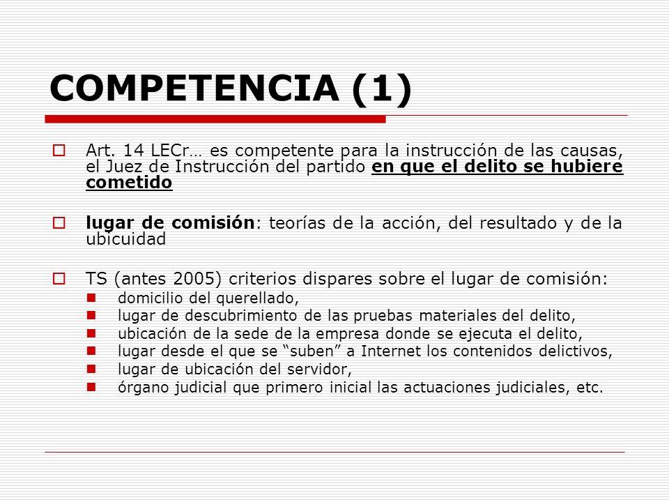 COMPETENCIA (1) Art. 14 LECr… es competente para la instrucción de las causas, el Juez de Instrucción del partido en que el delito se hubiere cometido