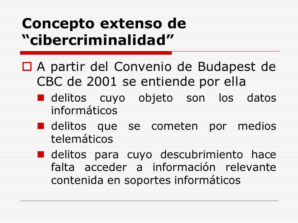 Concepto extenso de cibercriminalidad A partir del Convenio de Budapest de CBC de 2001 se entiende por ella delitos cuyo objeto son los datos informát