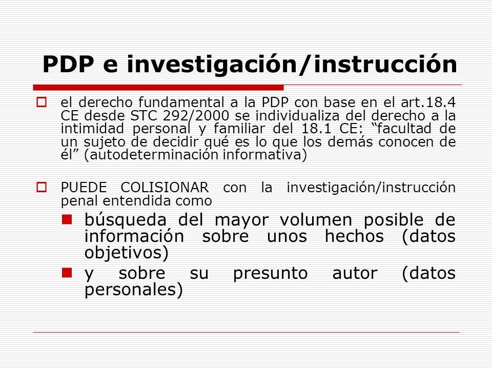 PDP e investigación/instrucción el derecho fundamental a la PDP con base en el art.18.4 CE desde STC 292/2000 se individualiza del derecho a la intimi