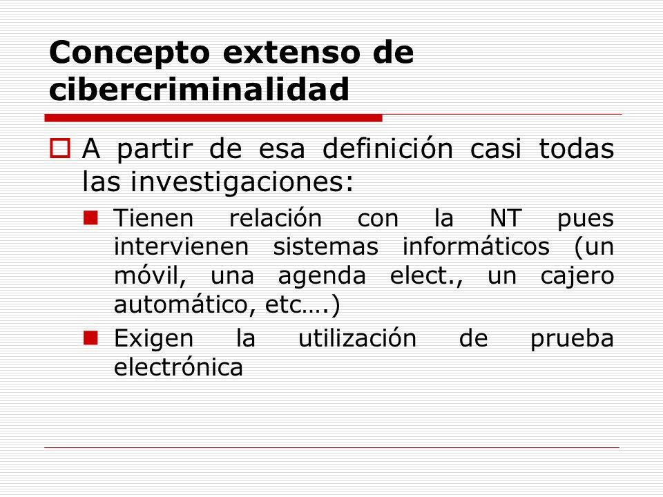 Concepto extenso de cibercriminalidad A partir de esa definición casi todas las investigaciones: Tienen relación con la NT pues intervienen sistemas i