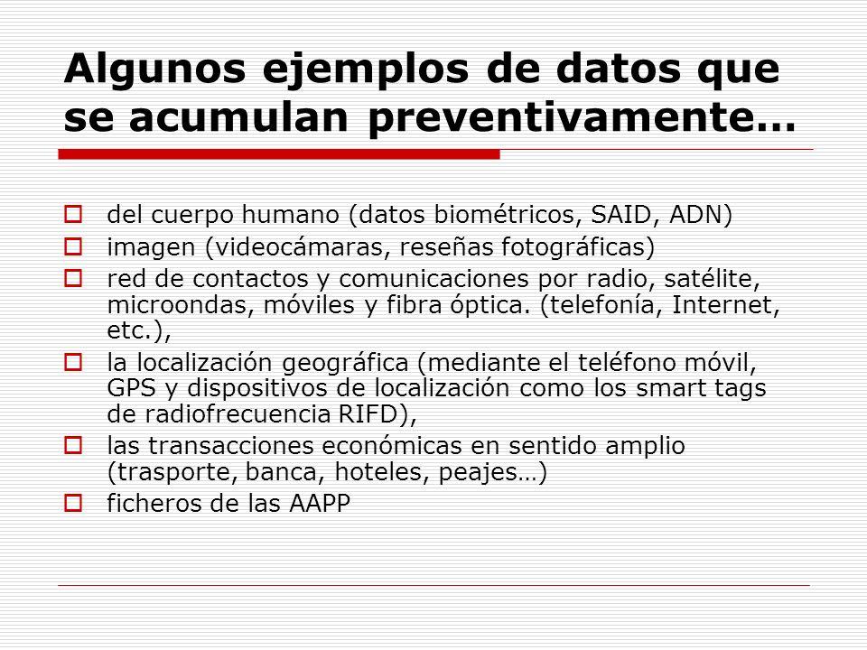 Algunos ejemplos de datos que se acumulan preventivamente… del cuerpo humano (datos biométricos, SAID, ADN) imagen (videocámaras, reseñas fotográficas