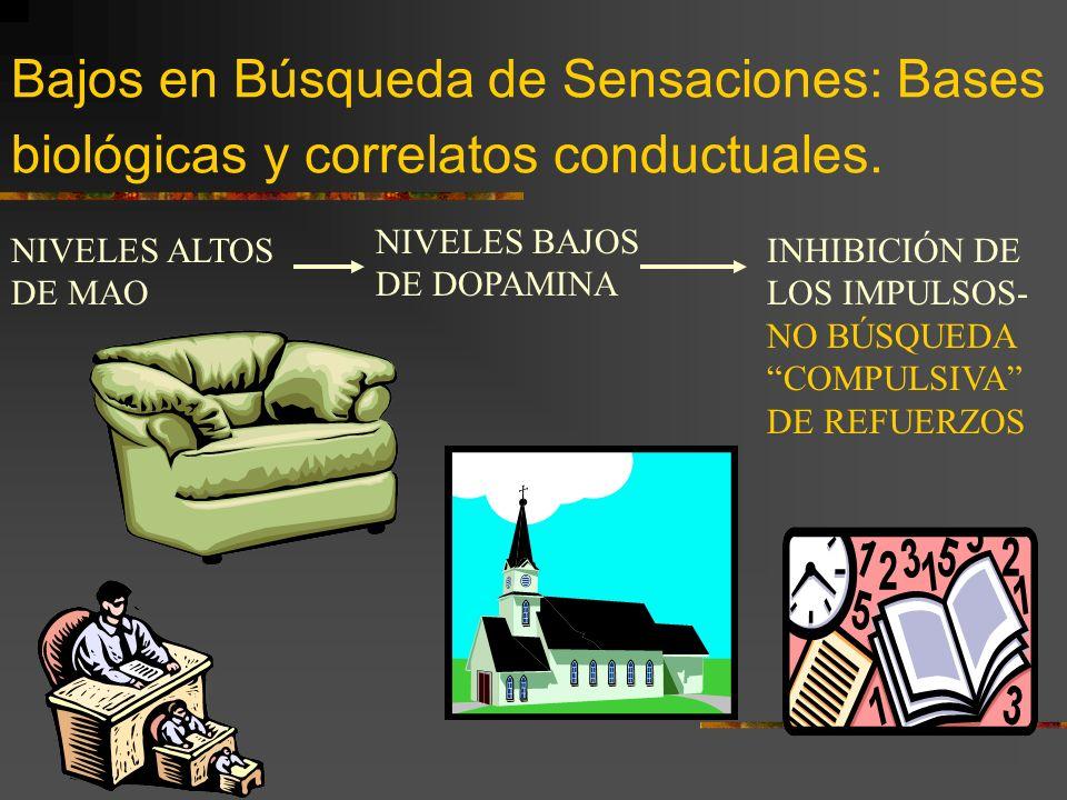 Altos en Búsqueda de Sensaciones: Bases biológicas y correlatos conductuales. NIVELES BAJOS DE MAO NIVELES ALTOS DE DOPAMINA BÚSQUEDA DE ESTIMULACIÓN/